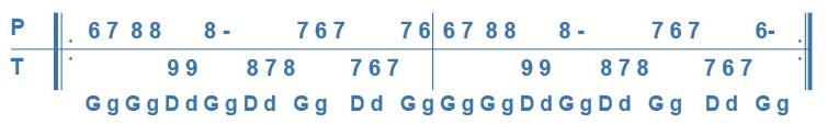 Variation de la deuxième phrase de l'avant deux de travers.